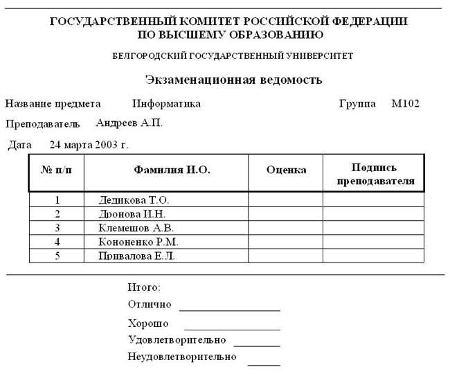бланк ведомости экзаменационной - фото 4